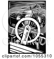 Royalty Free Vector Clip Art Illustration Of A Black And White Woodcut Styled Captain Steering by xunantunich
