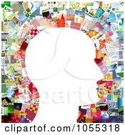Royalty Free Clip Art Illustration Of A White Profiled Face Against A Collage Of Pictures 1