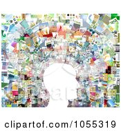 Royalty Free Clip Art Illustration Of A White Profiled Face Against A Collage Of Pictures 2 by NL shop