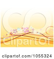 Orange Background Of Floral Waves