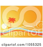 Orange Tropical Island And Waves Background
