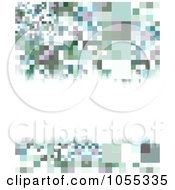 Abstract Background Of Blue And Gray Pixels And Copyspace