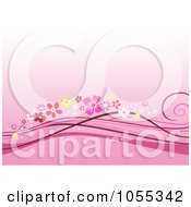Pink Background Of Floral Waves