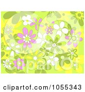 Background Of Pink Green And White Flowers On Green