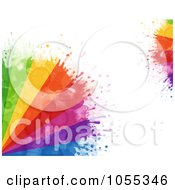 Background Of Colorful Paint Rays And Splatters On White