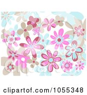 Background Of Tan Pink And Blue Flowers On White