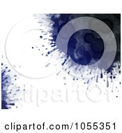 Background Of Dark Blue Paint Splatters On White