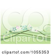 Green Background Of Floral Waves