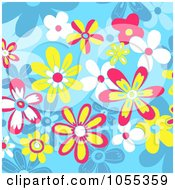 Background Of Flowers On Blue