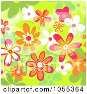 Background Of Flowers On Green