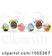 Royalty Free Clip Art Illustration Of Six Happy Easter Eggs by NL shop