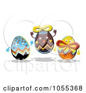 Royalty Free Clip Art Illustration Of Three Happy Easter Eggs by NL shop