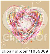 Colorful Heart Doodle With Stars On Tan