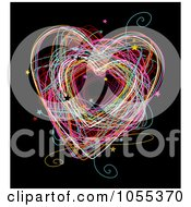 Colorful Heart Doodle With Stars On Black