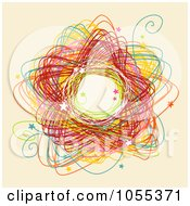 Royalty Free Clip Art Illustration Of A Colorful Circle Doodle With Stars On Beige
