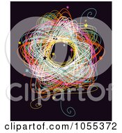 Royalty Free Clip Art Illustration Of A Colorful Circle Doodle With Stars On Black