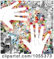 Royalty Free Clip Art Illustration Of A Background Of Hands Over A Collage Of Of Pictures On White 1 by NL shop
