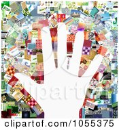 Background Of A Hand Over A Collage Of Of Pictures On White