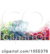 Background Of A Wave Collage Of Pictures On White