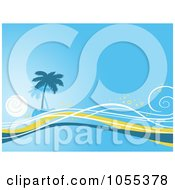 Royalty Free Clip Art Illustration Of A Blue Tropical Island And Waves Background