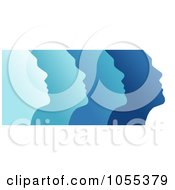Royalty Free Clip Art Illustration Of Profiled Blue Faces On White by NL shop