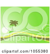 Royalty Free Clip Art Illustration Of A Green Tropical Island And Waves Background