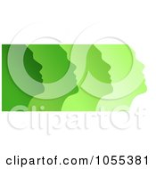 Royalty Free Clip Art Illustration Of Profiled Green Faces On White by NL shop