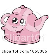 Royalty Free Vector Clip Art Illustration Of A Pink Tea Kettle Character by visekart