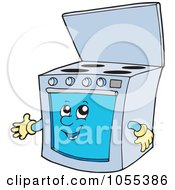 Royalty Free Vector Clip Art Illustration Of A Presenting Oven Character