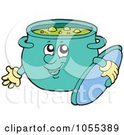 Royalty Free Vector Clip Art Illustration Of Split Pea Soup In A Happy Dutch Oven Pot by visekart