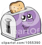 Royalty Free Vector Clip Art Illustration Of A Purple Toaster Character With Toast