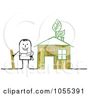 Poster, Art Print Of Stick Man Building An Eco Friendly House