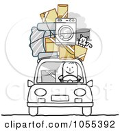 Royalty Free Vector Clip Art Illustration Of A Stick Man With Furniture Cat And Boxes On The Roof Of His Car