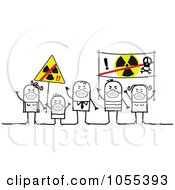 Royalty Free Vector Clip Art Illustration Of Protesting Stick People Wearing Masks And Holding Anti Radiation Signs by NL shop
