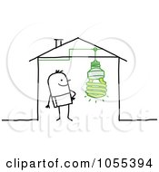 Royalty Free Vector Clip Art Illustration Of A Stick Man In A House With An Eco Friendly Light Bulb