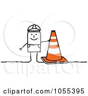 Royalty Free Vector Clip Art Illustration Of A Stick Construction Worker Man With A Cone