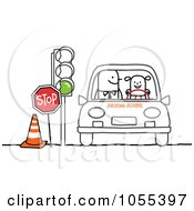 Royalty Free Vector Clip Art Illustration Of A Girl Learning To Drive In Drivers Ed by NL shop