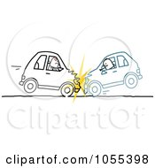 Royalty Free Vector Clip Art Illustration Of Two Stick Men In A Head On Car Accident by NL shop