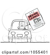 Royalty Free Vector Clip Art Illustration Of A Stick Man Holding His Driving License And Sitting In A Car by NL shop