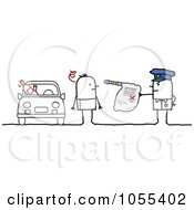 Royalty Free Vector Clip Art Illustration Of A Police Officer Issuing The Arrest Of A Drunk Driver
