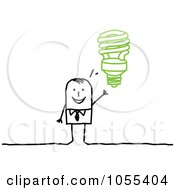 Stick Man With A Spiral Light Bulb Idea by NL shop
