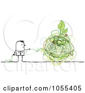 Stick Man Trying To Unravel String Around A Plant On A Globe