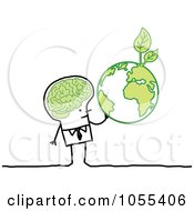 Royalty Free Vector Clip Art Illustration Of A Stick Man With A Green Brain And Globe by NL shop