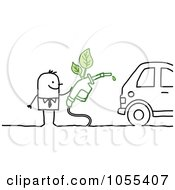 Royalty Free Vector Clip Art Illustration Of A Stick Man Fueling His Eco Friendly Car by NL shop