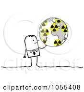 Royalty Free Vector Clip Art Illustration Of A Stick Man Holding A Globe With Radiation Symbols