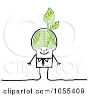 Royalty Free Vector Clip Art Illustration Of A Stick Man With An Ecology Brain by NL shop