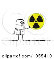 Royalty Free Vector Clip Art Illustration Of A Stick Man Holding A Radiation Symbol
