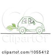 Royalty Free Vector Clip Art Illustration Of Stick People Riding In An Eco Friendly Car by NL shop