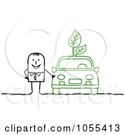 Royalty Free Vector Clip Art Illustration Of A Salesman Standing By An Eco Friendly Car by NL shop