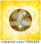 Royalty Free Vector Clip Art Illustration Of A Gold Disco Ball On Yellow Rays